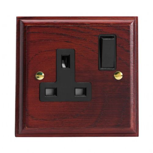 Varilight XK4MB Kilnwood Mahogany 1 Gang 13A DP Single Switched Plug Socket